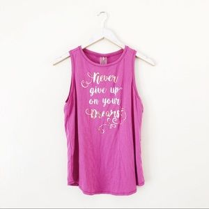 Calia Graphic Muscle Tank Top Never Give Up Dreams